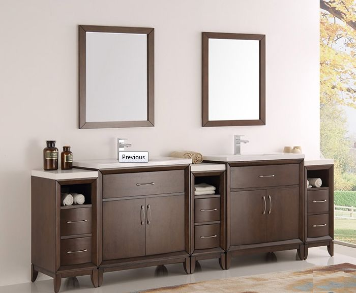96 inch Antique Coffee Finish Double Sink Traditional Bathroom Vanity with Mirror
