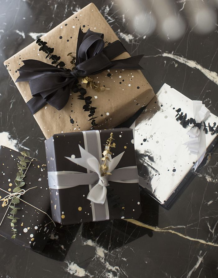 diy paint splatter wrapping paper