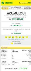 Timemania 562 132x300 Timemania 562: resultado do sorteio de hoje, 12/04