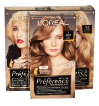 Buy 3 for £4.85 each - Loreal Paris Recital Preference Permanent Colour  - Brilliant Colour - Continual Conditioning.  - Colour Gel Technology formulated with fade resistant colourants.  - Maintains hair's moisture, optimises shine and sustains colour vibrancy.  - The result is finely balanced, sophisticated colour that is beautiful and long lasting.  - Covers all grey hair; if you have more than 50% grey the result will be slightly lighter looking than the hair colour shown.