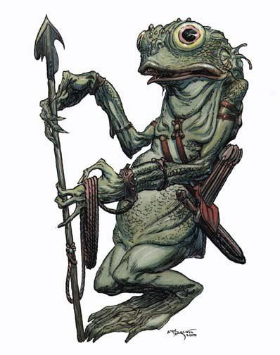 The Kua-Toas have fish heads with vaguely human features. They are scaly, with webbed hands and feet.   These cruel green creatures are well trained warriors. The skin color of Kua-Toas changes depending on their emotions. When they are white, they are scared, and when in anger, red. The eyesight of these creatures is extremely good, they even see invisible things. Poisons can't harm them, and though they are water creatures, they manage remarkably well on land.
