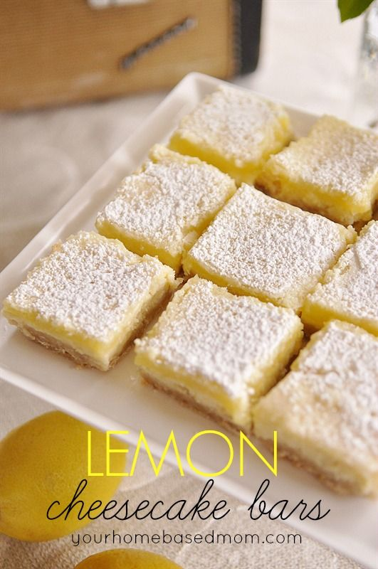 lemon cream cheese bars - amazing!!  the best lemon bar ever @yourhomebasedmom.com