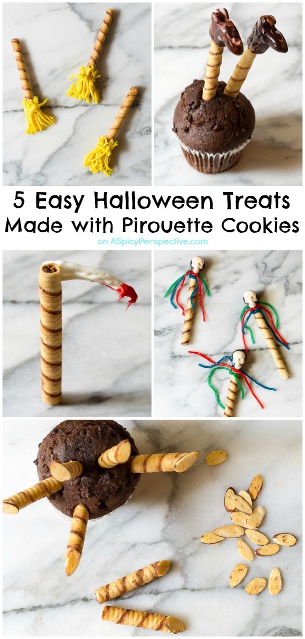 Super Fun!! Learn How to Make 5 Easy Halloween Treats Made with Pirouette Cookies on ASpicyPerspective.com. Fun for Kids!!