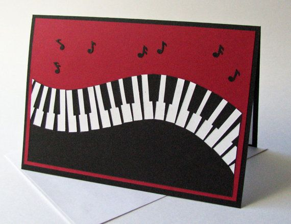 Piano Pop-up Birthday Card by PaperCompositions on Etsy