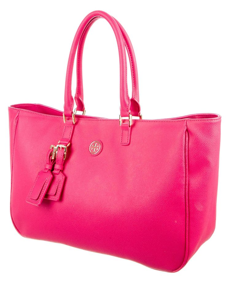 Tory Burch Pink Leather Gold-tone Logo Pink, Gold Tote Bag. Get one of the hottest styles of the season! The Tory Burch Pink Leather Gold-tone Logo Pink, Gold Tote Bag is a top 10 member favorite on Tradesy. Save on yours before they're sold out!