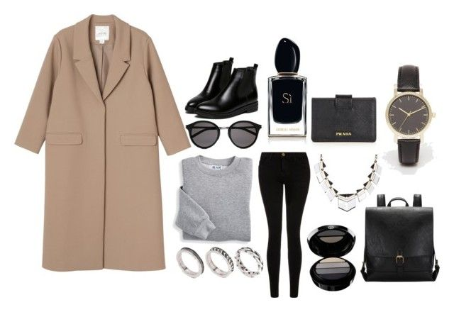 """""""Street style"""" by dobrayaprosto ❤ liked on Polyvore featuring Blair, Current/Elliott, Monki, Armani Beauty, Yves Saint Laurent, ASOS, WithChic and Prada"""