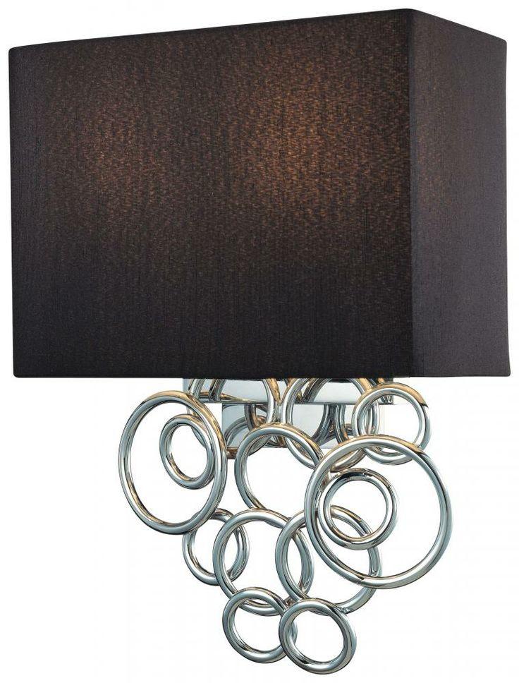Eight Light Chrome Black Linen Fabric Shade Wall Light : P400-3-077 | Lighting Emporium for the bedroom