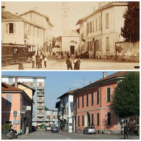 Cuggiono: Chiesa Vecchia dalla Piazza S. Giorgio e il Gamba de legn (45°30'23.00''N 8°49'00.74''E 45.506388,8.816871)