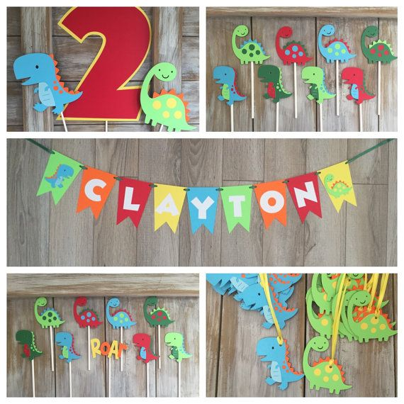 Dinosaur Banner Dinosaur Cupcake Toppers by EricasCrafties on Etsy