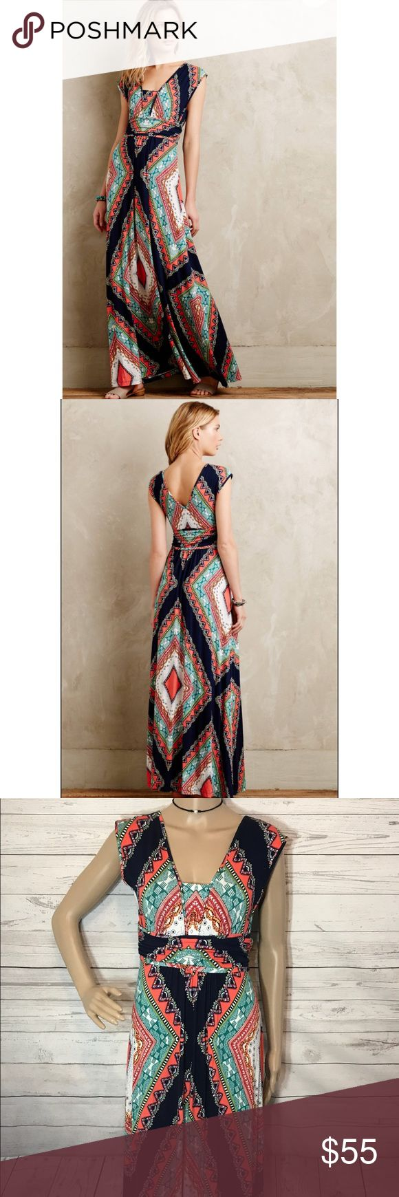 "Anthropologie Maeve Verda Maxi Dress Aztec Boho Style No. 4130339188012 ; Color Code:  By Maeve Rayon-spandex jersey knit Ruched banded waist Pullover styling Machine wash  In Excellent Condition. Gently worn, no stains or holes. Can size down also due to stretch. Approx Measurements: 36"" bust stretched a bit.., 25"" empire waist Unstretched, 53"" long shoulder to hem.   Southwestern, Aztec/Boho print, can be styled with ankle boots and a jacket or sweater for fall. Anthropologie Dresses Maxi"