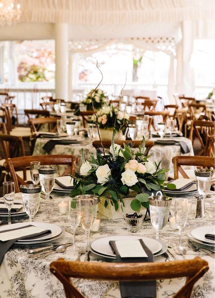 Round Table Hochzeitsdeko Unique Classic Schwarz Grau French toile Tischdecke …   – Wedding decor