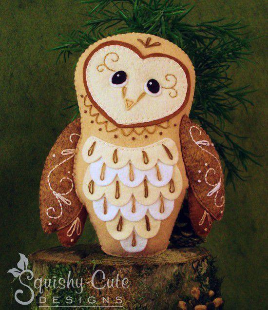 Barn Owl Sewing Pattern PDF Woodland by SquishyCuteDesigns