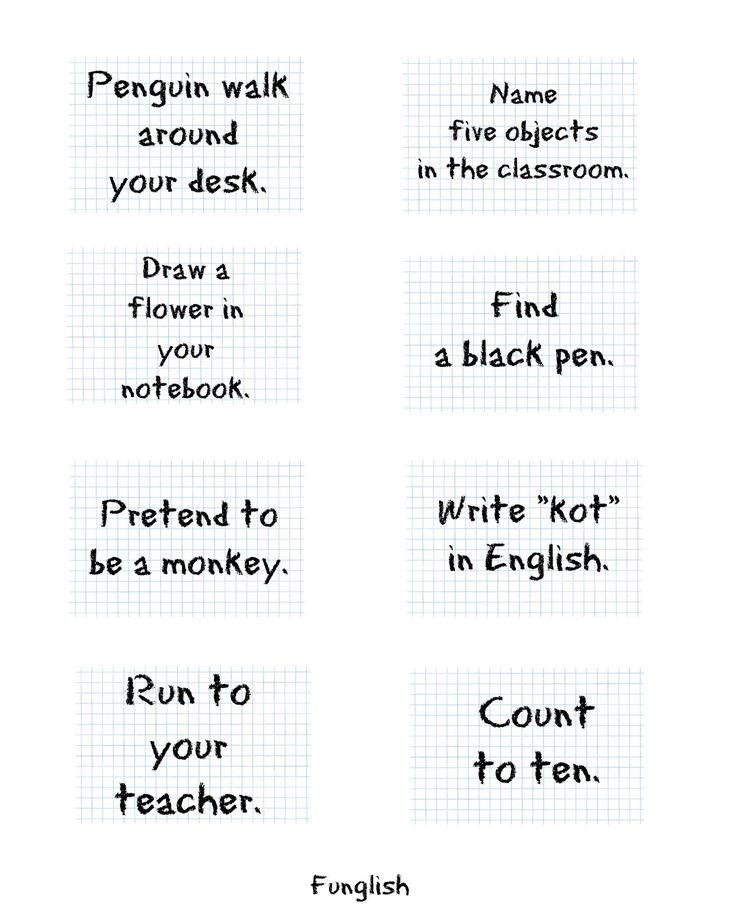 Przygotowałam kartki z zadaniami, które mam zamiar wykorzystać jako rozgrzewkę na zajęciach z 7-8-latkami.  Kartki wycinam, wkładam do worec...