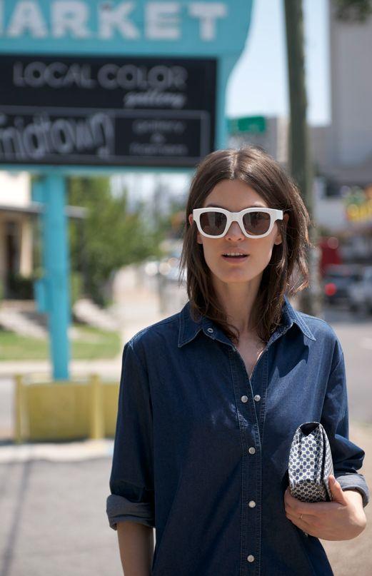 Hanneli in a denim shirt... white sunglasses are killer.