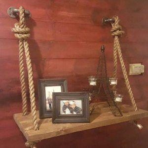 Rope & Pipe Desk GRATIS SHIPPING! Legno sospeso – Parete montato – Tavolo portatile computer in piedi – Tavolo a sospensione industriale galleggiante