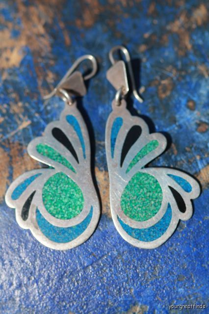 Vintage 1970s Mexican Taxco 925 Sterling Silver Dangle Chip Mosaic Pierced Earrings via Etsy