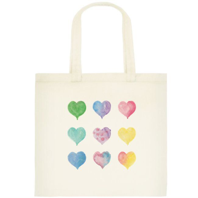 Watercolor Hearts Love Tote, Small Cotton Reusable Bag by OrangePeelPaperie on Etsy