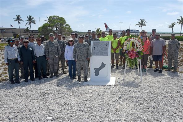 Attendees pose for a group photo during Wake Island's Guam Memorial rededication ceremony June 8, 2017. The Guam Memorial on Wake Island was erected in 1991 to honor 45 Chamorros from Guam who worked for Pan American airlines. On Dec. 8, 1941, just a few hours of the attack on Pearl Harbor, Hawaii, Japanese forces attacked Wake Island and 10 of the 45 Chamorros were killed in the attack. The remaining 35 men were sent to prison camps in Japan and China where two died in captivity. Due to…