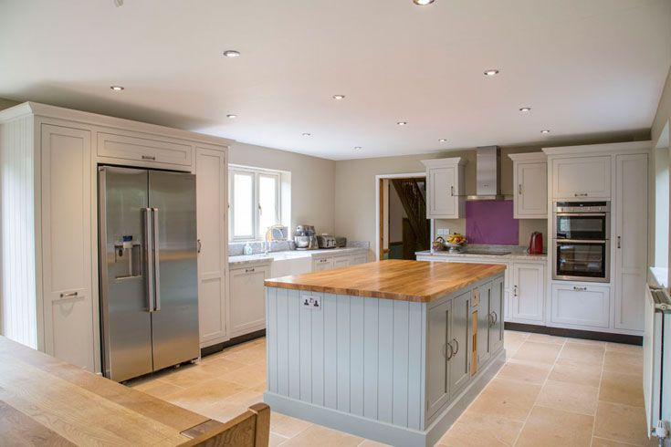 """Handmade shaker style kitchen by Benchwood Kitchens.  Our customer quote -  """"I would not hesitate to recommend Benchwood. The team has made it a smooth and easy process throughout and we could not be more pleased with the beautiful kitchen they have made and fitted for us. The attention to detail is outstanding and we are left with a beautiful and much admired room which is a fantastic family kitchen."""""""