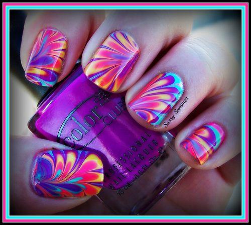water marble nails by Sassy Summer Nails