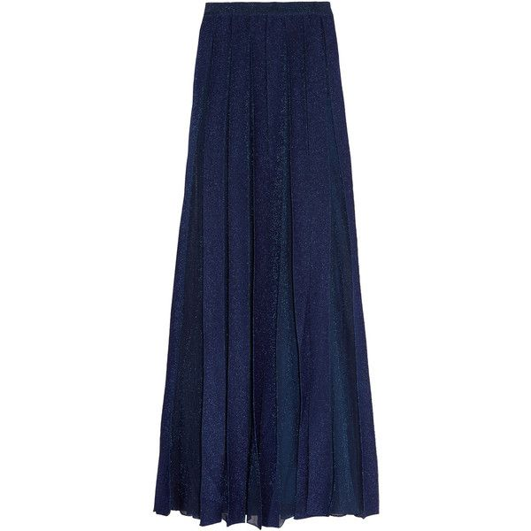 Missoni Pleated metallic knitted maxi skirt (28.050 RUB) ❤ liked on Polyvore featuring skirts, indigo, metallic pleated maxi skirt, floor length maxi skirt, blue maxi skirt, metallic pleated skirt and long maxi skirts