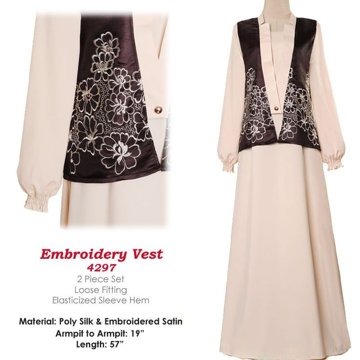 4297 Embroidered Vest Abaya Dress - Standard Size S/M US$28 FREE SHIPPING WORLDWIDE  Buy It Here --> http://shop.pe/jos7k