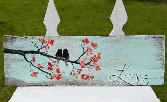 Love Birds Wood Sign Wedding Gift for Couple Rustic Gift Wood 5th Anniversary…