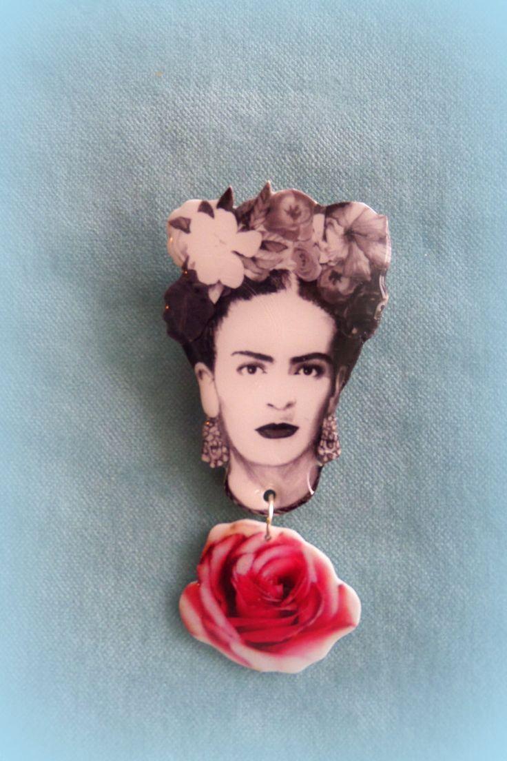 Handmade Frida Kahlo Brooch - Acrylic plastic by FridasCorner on Etsy