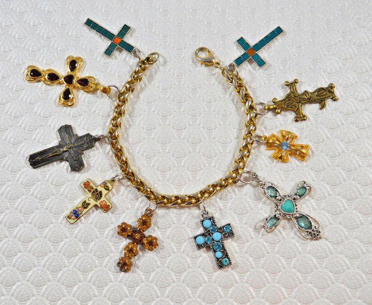 OOAK Handcrafted Cross Crucifix Religious Bracelet OOAK Religious Jewelry