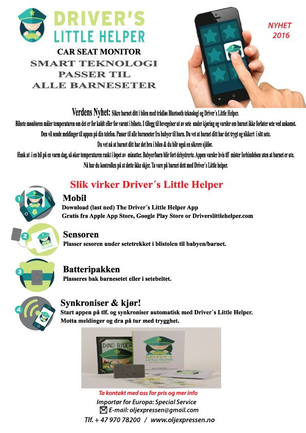 Made sale flyer to get started to selling Driver`s Little Helper for the scandinavian marked