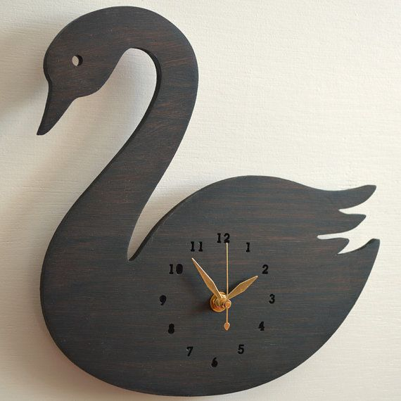 Black Swan Wall Hanging Clock Room Decor Silhouette by decoylab