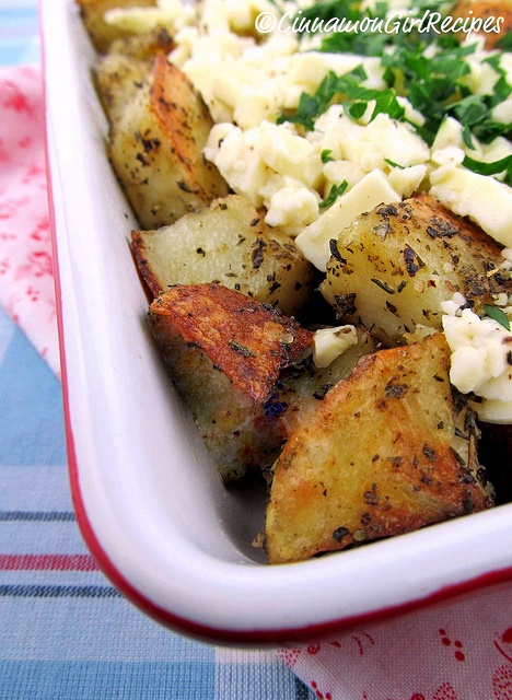 Roasted Greek Potatoes with Feta Cheese and Lemon | Cinnamon Spice & Everything Nice