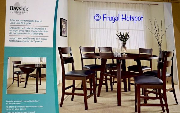 Bayside Furnishings 7-Piece Square to Round Counter-Height Dining Set. #Costco #FrugalHotspot #furniture