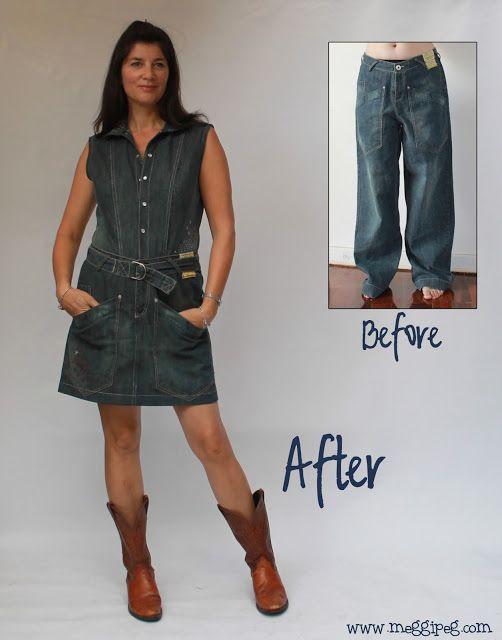 meggipeg: Baggy jeans refashioned into a dress