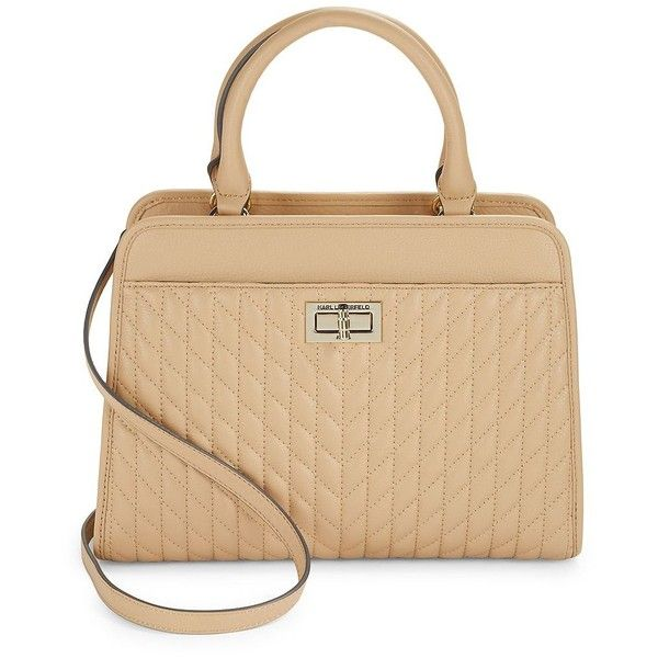 Karl Lagerfeld Paris Agyns Leather Satchel ($268) ❤ liked on Polyvore featuring bags, handbags, nude, nude purses, leather satchel handbags, handbag satchel, leather satchel purse and quilted leather purse
