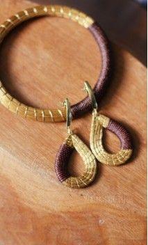 Boucles d'oreilles en or végétal du Brésil, capim dourado, herbe dorée, artisanat équitable et éco-responsable - Menina Chic Brésil