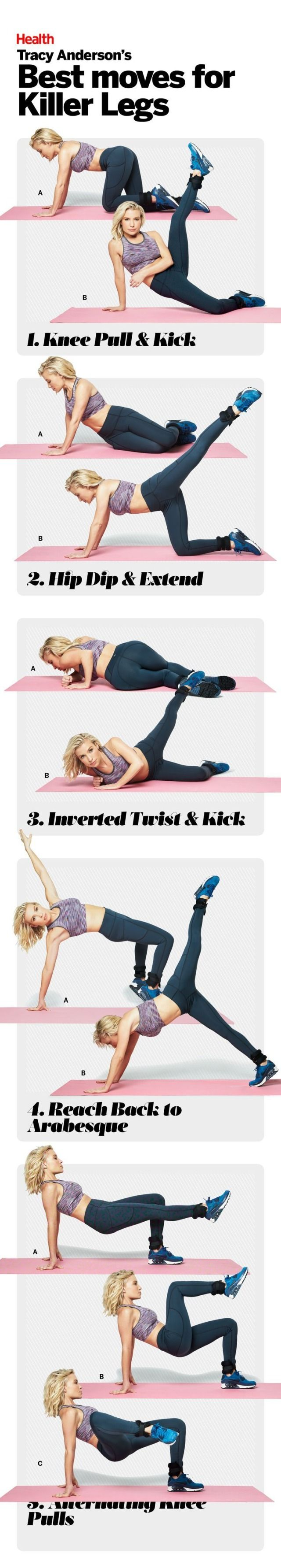 Tracy Anderson's Best Moves for Killer Legs: Follow these five moves to get your legs slim, toned, and super sexy. #HEALTHxTA | Health.com