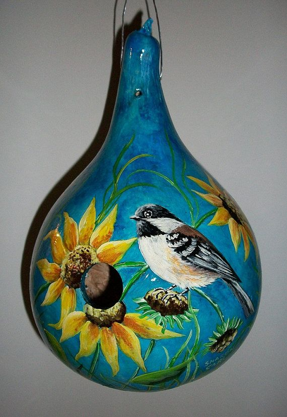 Gourd Birdhouse Chickadee and Sunflowers