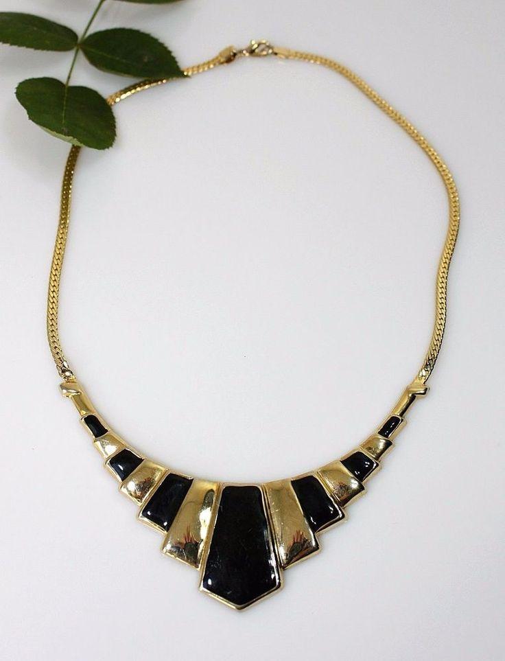PARK LANE Statement Necklace Gold Tone Black Enamel Art Deco Style Holiday Gift #ParkLane #ArtDecoStatement