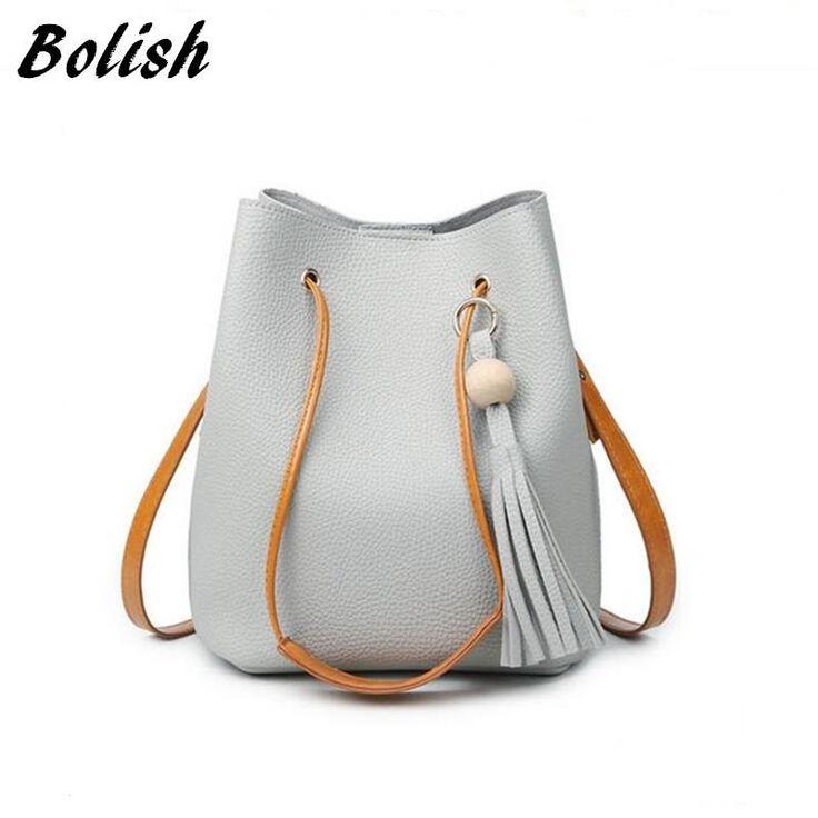 Fashion Casual Tassel Women Bag Litchi PU Leather Shoulder Bag