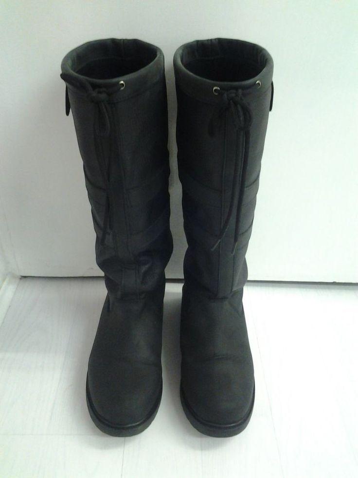 Original Gumbies U-Boots Ladies Black 100% Waterproof Country Leather boots.