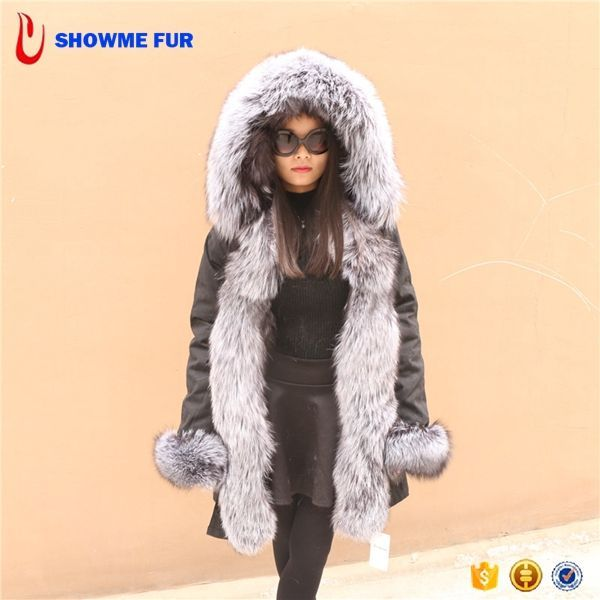 2017 New Luxury Real Fur Hooded Women'S Grey Parka Coats
