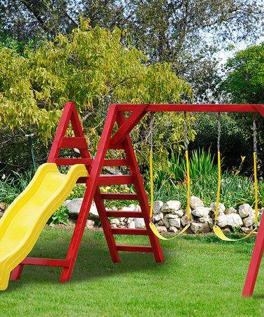 Red & Yellow Kids Swing Set by A&L Furniture #zulily #zulilyfinds