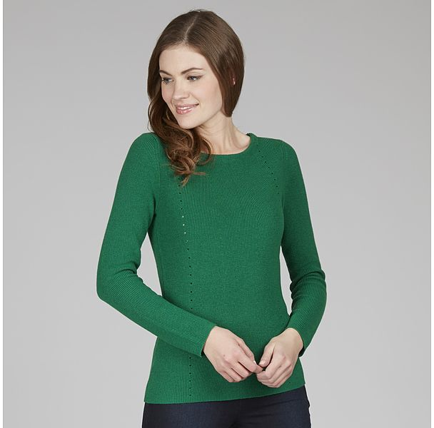 Womens dark emerald eyelet detail jumper from Laura Ashley - £58 at ClothingByColour.com