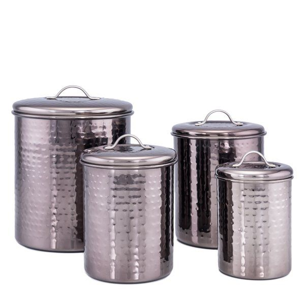 You Ll Love The Black Pearl Hammered 4 Piece Kitchen Canister Set At Wayfair Great Deals On All Storage Kitchen Canister Sets Canister Sets Kitchen Canisters