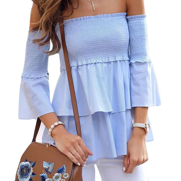 Off Shoulder Womens Ruffle Blouse 2017 Summer Peplum Tops Femme Ladies Office Shirts Long Sleeve One Shoulder Tops Camisas Mujer #Affiliate