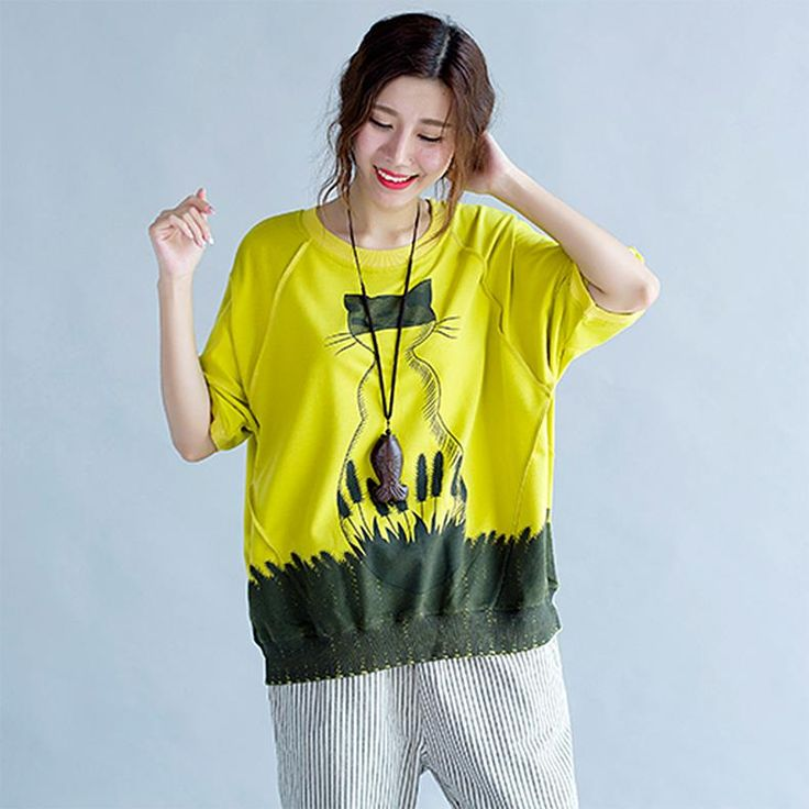 ShowMi Women T-Shirt 2017 Summer Cat Pattern Print Female Large Size Loose Cotton Fashion Pullover Yellow Women Tops&Tees