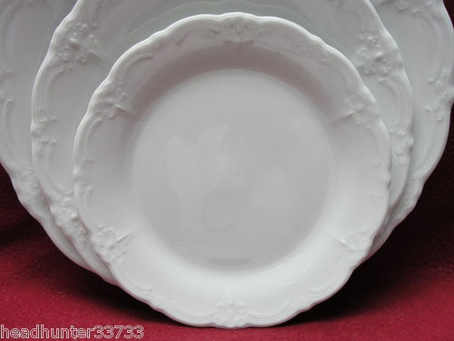 """~~~This is one of my china patterns: """"Baroness White"""" by Huschenreuther, Germany. I chose this because of its subtle relief border, beautifully-shaped serving pieces and open work on the cup handle. Along the way, I have paired it with other white china, royal blue china, or Victorian serving platters and my mother's collection of bone china tea cups."""