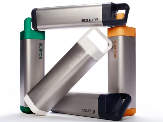 The Square - a water bottle designed by Apple folks. Won't roll away, fits cup holders, and can be opened with a quarter turn. Created by David Mayer, via Kickstarter.