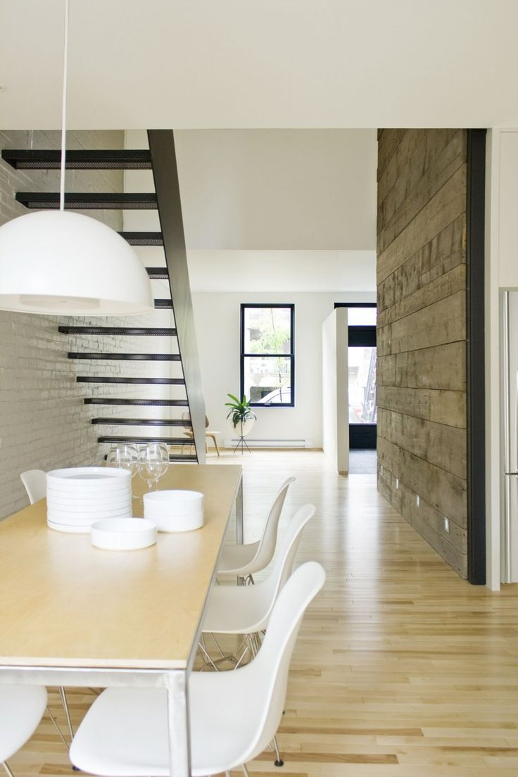 Apartments. Comfortable Contemporary Apartment Design of a Makeover Building: Awesome Dining Room For Two Floors Apartment With Table Set And White Replica Flowerpot Pendant Lamp ~ wegli